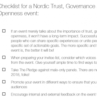 Checklist for a Nordic Trust, Governance and Openness event
