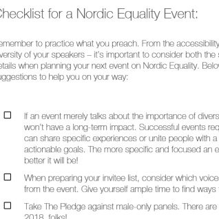 Checklist for a Nordic Equality Event